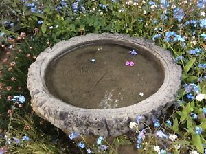 🇬🇧 STONE GARDEN LOG BIRD BATH TOP ONLY FEEDER BOWL REPLACEMENT DISH ORNAMENT🌿