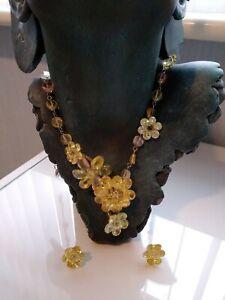 Butler & Wilson,beautiful flower necklace & earrings,Swarovski glass & acrylic .