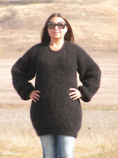MOHAIR Hand Knitted BLACK Sweater Ribbed Pullover Handmade Soft Fluffy