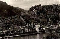 Hirschhorn am Neckar AK ~1950/60 Teilansicht mit Fluß Schiff und Burg Hirschhorn