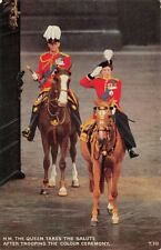 H.M. THE QUEEN TAKES THE SALUTE AFTER TROOPING THE COLOUR CEREMONY