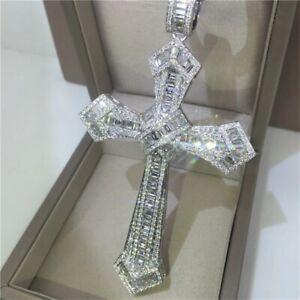 14K Diamond Cross Pendant Necklace 925 Sterling Silver Necklace Men Women Gift