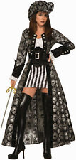 Womens Captain Silva Black Skull Pirate Costume Adult Size M/L