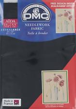 "DMC NEEDLEWORK CROSS STITCH FABRIC AIDA 310 BLACK 14ct 20 x 30"" 50cms x 75cms"