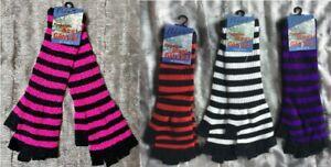 Ladies stripe red white purple pink finger-less fingerless Magic LONG gloves NEW