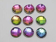 200 Rainbow AB Flatback Acrylic Faceted Round Sewing Rhinestone Button 10mm