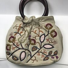 Forever By Fossil Natural Emroidered Wood Hoop Handle Purse