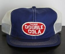 Vintage RARE DOUBLE COLA Hat Cap Trucker Mesh Ad Patch Chattanooga K Brand Blue