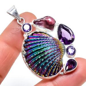 "Titanium Oyster Shell, Amethyst Gemstone Silver Jewelry Pendant 2.0"" PRJ774"