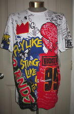 MENS XL T-SHIRT AKADEMIKS ARTFULLY CRAFTED COLLECTION GRAFFITI CROWN WHITE RED..
