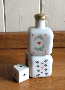 Miniature white glass bottle, poker by BUTON Italy🇮🇹