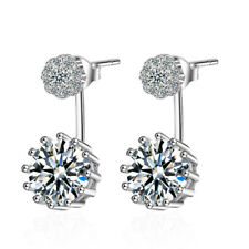 925 Sterling Silver Round Zircon Stud Drop Party Earrings Exquisite Jewellery