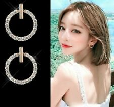 ROUND CIRCLE CZ DROP STUD EARRINGS