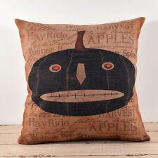 "18"" Black Pumpkin Vintage Linen Cushion Cover Pillow Case Halloween Home Decor"