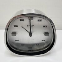 Swiza 8 Space Age Alarm Clock in Satin Steel 8 Day Swiss Made **Working**