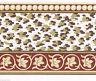 Victorian Burgundy Ivy Leaf Leopard Spots Animal Print Cream Wall paper Border