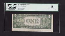 ERROR NOTE..1935-E $1 SILVER CERTIFICATE MISALIGNED BACK PRINTING, PCGS FINE 15
