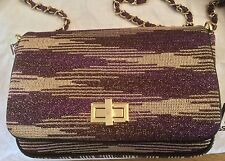 M MISSONI PURPLE PATTERNED LUREX SHOULDER BAG WITH GOLD TO E HARDWARE BNWT