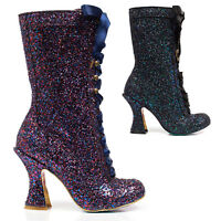 Irregular Choice Luna Sparkles Black Purple Glitter High Louis Heel Calf Boots
