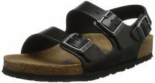 Мужские сандалии мягкие Birkenstock стелька Milano Amalfi черные кожаные регулярные