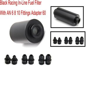 Black Racing In-Line Fuel Filter With AN6 AN8 AN10 Fittings Adapter Durable