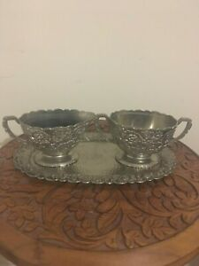 Beautiful Silver Tone Metal Cream and Sugar Set with Tray