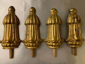 Set Of Four Gilt Bronze Pediments For Curtain Or Wall, Mirror