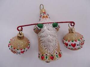 Patricia Breen Designer Glass Christmas Ornament Santa Claus Tight Rope Tan Suit