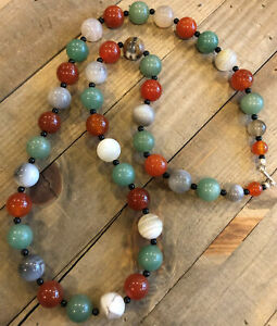 "JAY KING Carnelian, Aventurine, Greay Lace Agate 34"" Necklace, Sterling Silver"