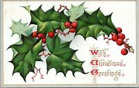 1908 Raphael Tuck Christmas Postcard Holly Leaves and Berries Series Germany JF