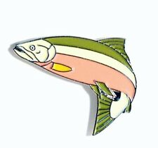SALMON - LAPEL PIN BADGE - FISH FISHERMAN ANGLING TROUT GRAYLING RIVERS  LK-06