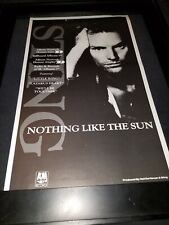 Sting Nothing Like The Sun Rare Original Radio Promo Poster Ad Framed! #2