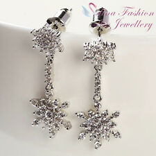18K White Gold GP Simulated Diamond Studded Exquisite Snowflake Silver Earrings
