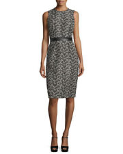Michael Kors Collection Sleeveless Banded-Waist Sheath Dress, Black/Muslin