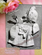 Vintage Knitting Pattern Baby's Dainty Little Coat & Bonnet. FREE UK P&P  !!!