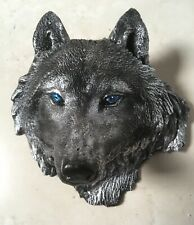 Hand made plaster Wolf Head wall Plaque