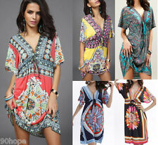 Women Loose Holiday V Neck Floral Mini Ladies Beach Party Dress Plus Size Kaftan