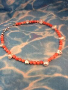 GENUINE NATURAL PINK SALMON BEAD ANKLET 10 Inches Sterling Silver Lobster Clasp