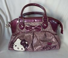 Sanrio HELLO KITTY Purple Metallic Patent & Glitter Fabric Satchel Handbag