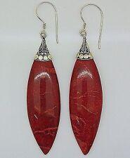 Red Coral Gemstone Long Drop Dangle Earrings 925 Sterling Silver - UK Seller