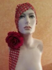 Downton Abbey Gatsby 20's Flapper Red Illusion Jewel Red Rose Bridal Headpiece