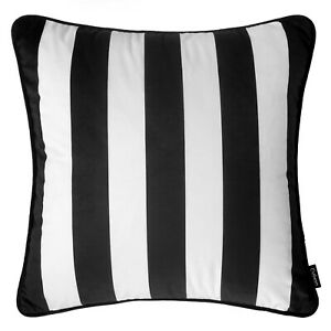 "Monochrome Striped Cushion Black White Velvet Modern Sofa Throw Cover 45cm 18"""