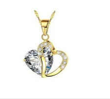 Fashion Womens Heart Clear Crystal Rhinestone Gold Chain Pendant Necklace NEW