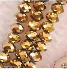 6mm 98pc Gold Jewelry Faceted Rondelle glass crystal Loose beads