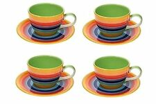 Ceramic Rainbow Striped Set Of 4 Tea / Coffee Cups & Saucers By Windhorse