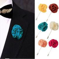 Lapel Silk Rose Flower Handmade Boutonniere Stick Brooch Pin Men Accessor LL