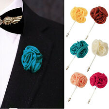 Lapel Silk Rose Flower Handmade Boutonniere Stick Brooch Pin Men Accessor LL