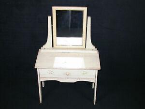 "Antique Vtg White Vanity Dressing Table W Drawer Kid Doll Furniture 24"" Tynietoy"