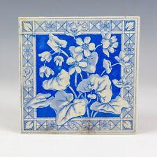 Antique English Pottery Victorian Flower Decorated Tile - Art Nouveau!
