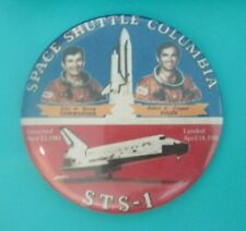 """Vintage Space Shuttle Columbia STS-1 w/ Young & Crippen 3"""" Pinback button First"""